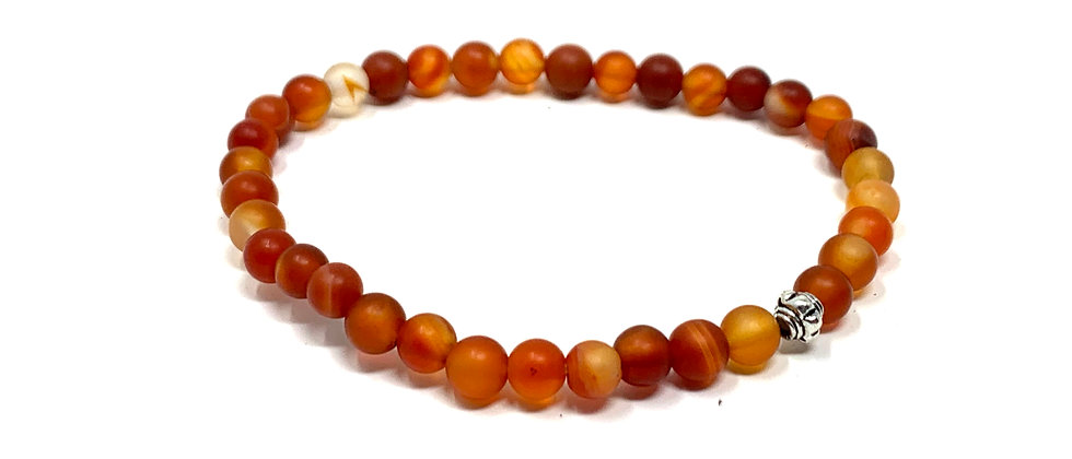 5 mm Carnelian Agate (Matt) Elastic Bracelet  (Price is Per 10 Pieces Bag)