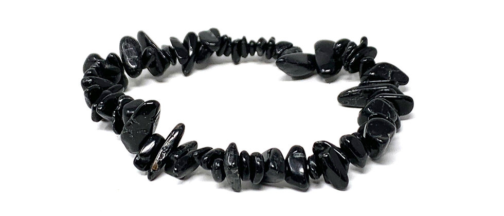 Black Tourmaline Single Chips Elastic Bracelet  (Price is Per 10 Pieces Bag)