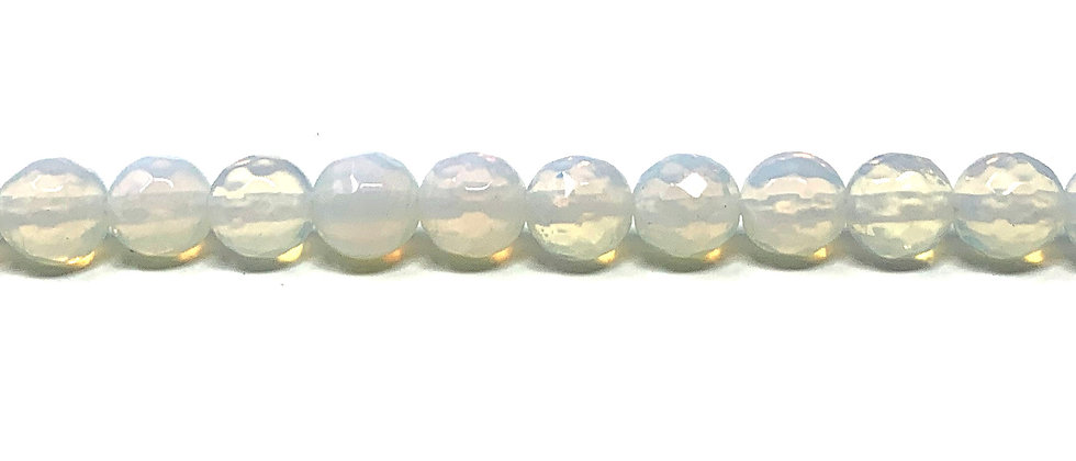 8 mm Faceted  Round Opalite Beads (Price is per Unit of 5 Strand)