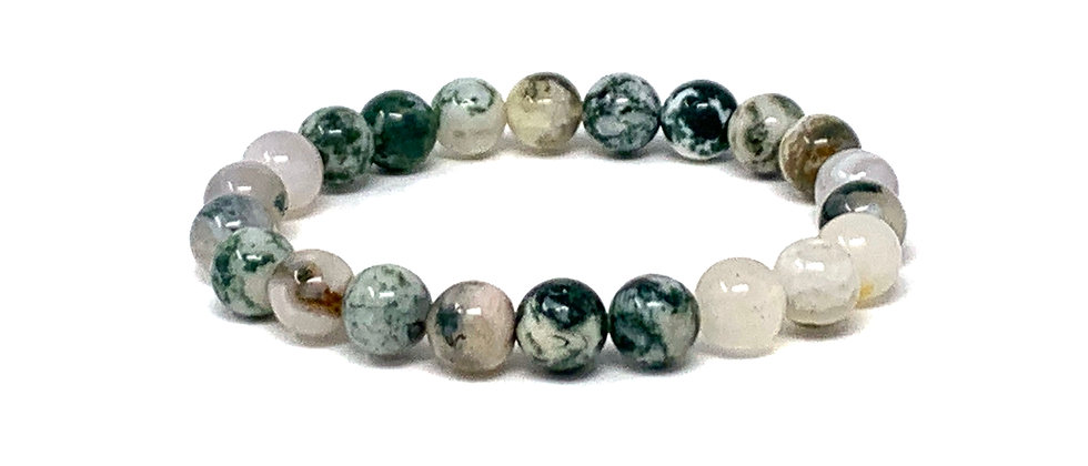 8 mm Round India Tree Agate Stretch Bracelet  (Price is Per 10 Pieces Bag)