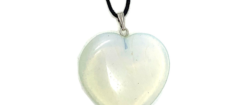 35 mm Opalite Adjustable Cord Heart Pendant (Price per 10 Pieces Bag)