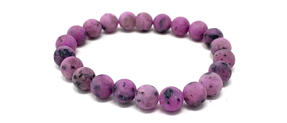 8 mm Round Purple Kiwi QTZ. Matt Elastic Bracelet  (Price is Per 10 Pieces Bag)