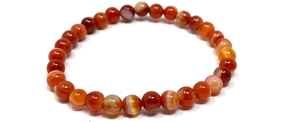 6 mm Red/White Sardonyx Agate (Matt) Bracelet  (Price is Per 10 Pieces Bag)