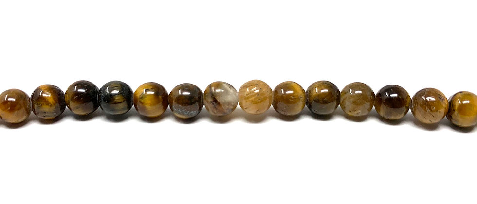 "4 mm Tiger Eye Round Beads 15.5""-16"" (Price per Unit of 5 Strands)"