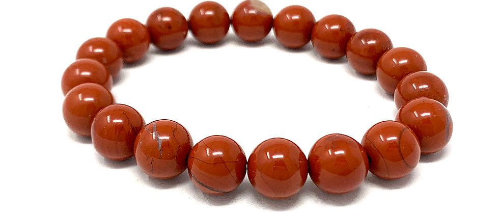 10 MM Red Jasper Round Beads Bracelets (Price Per 10 Pieces Bag)