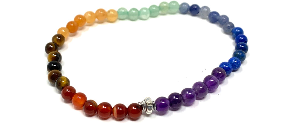 4 mm Round Chakra Elastic Bracelets  (Price is Per 10 Pieces Bag)