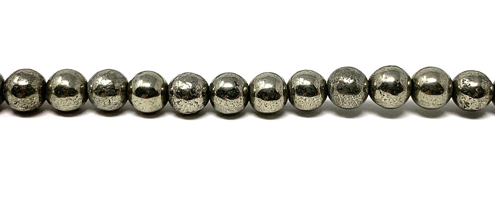 "4 mm Pyrite Smooth Round Beads 15.5""-16"" (Price per Unit of 5 Strands)"