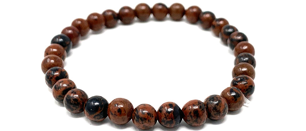 6 MM Mahogany Obsidian Round Beads Bracelets (Price Per 10 Pieces Bag)