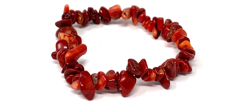 Red Sea Bamboo Coral Single Chips Elastic Bracelet  (Price is Per 10 Pieces Bag)