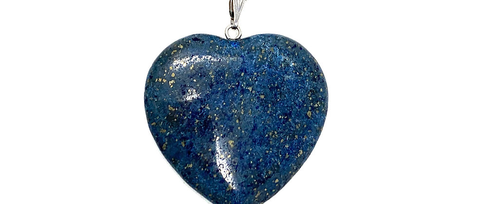 35 mm Natural Lapis Adjustable Cord Heart Pendant (Price per 10 Pieces Bag)