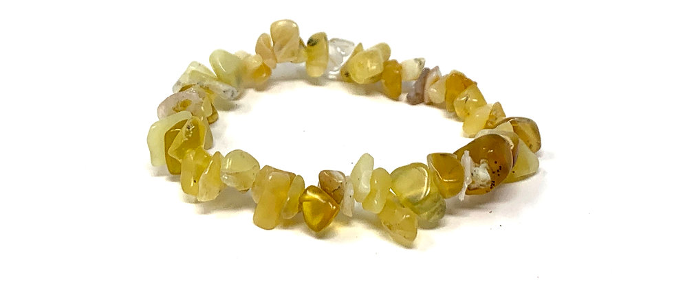 Yellow Opal Single Chips Elastic Bracelet  (Price is Per 10 Pieces Bag)