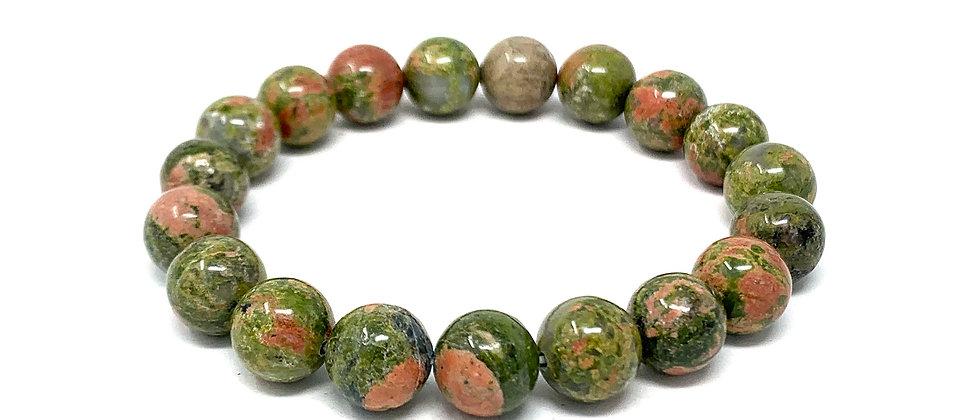 10 MM Unakite Round Beads Bracelets (Price Per 10 Pieces Bag)