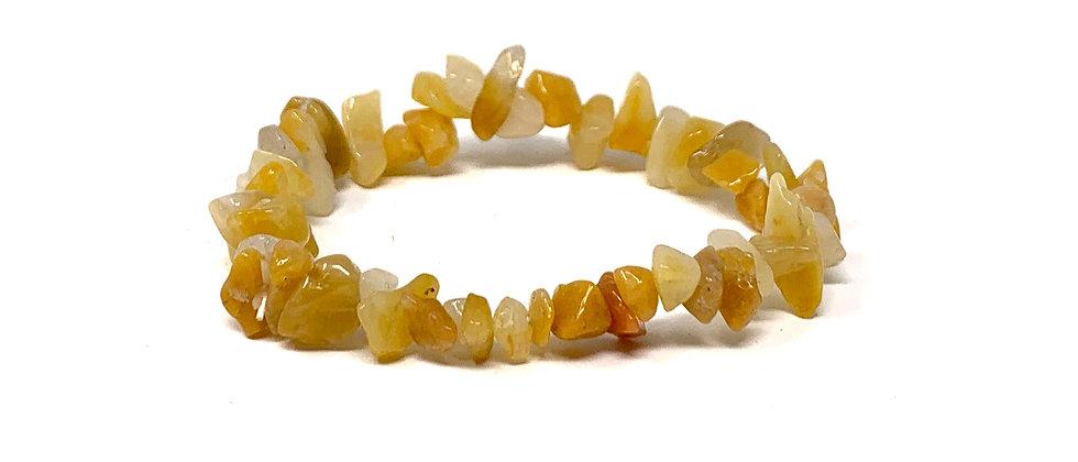 Yellow Jade Single Chips Elastic Bracelet  (Price is Per 10 Pieces Bag)
