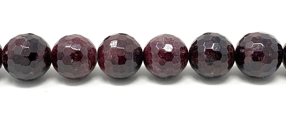15 mm Faceted Round Garnet Beads (Price is per Unit of 5 Strand)