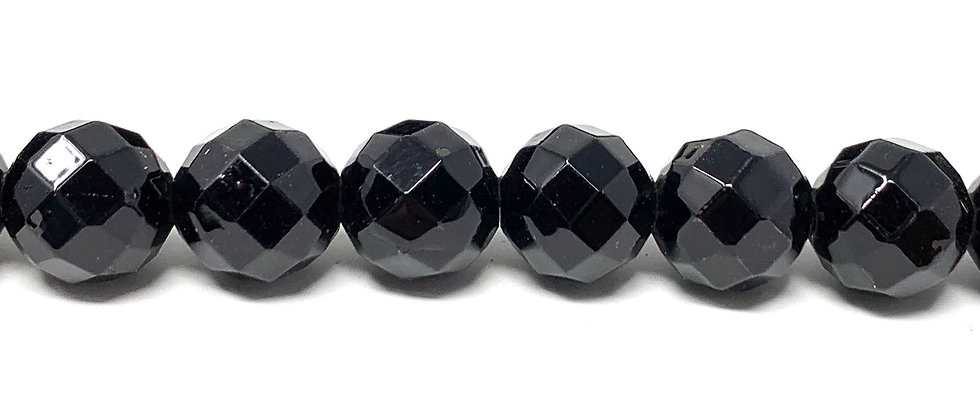"10 mm Black Jet Faceted Beads 16"" 15.5""-16"" (Price per Unit of 5 Strands)"