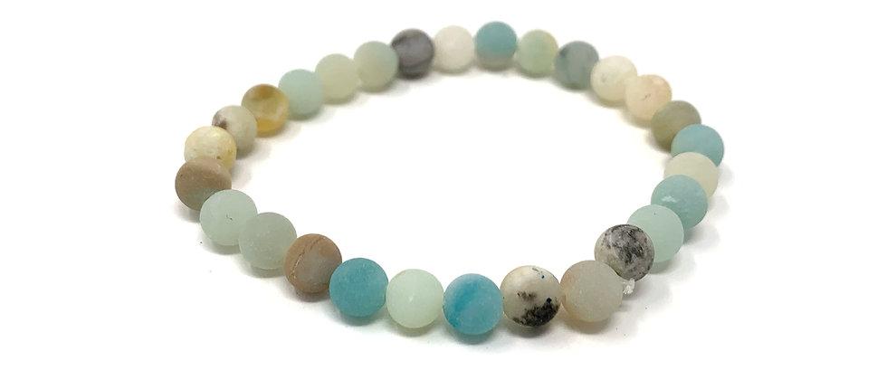 6 mm Round Matt Pyrite Amazonite Elastic Bracelet  (Price is Per 10 Pieces Bag)
