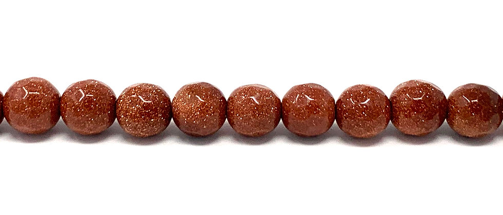 8 mm Faceted Round Brown Goldstone Beads (Price is per Unit of 5 Strand)
