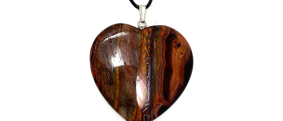25 mm Red Tiger Eye Adjustable Cord Heart Pendant (Price per 18 Pieces Tray)