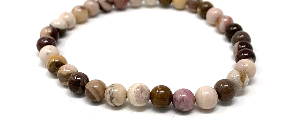 6 MM Brown Zebra Jasper Round Beads Bracelets (Price Per 10 Pieces Bag)