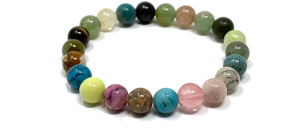 8 mm Round Maulti-Stones Strich Bracelet  (Price is Per 10 Pieces Bag)