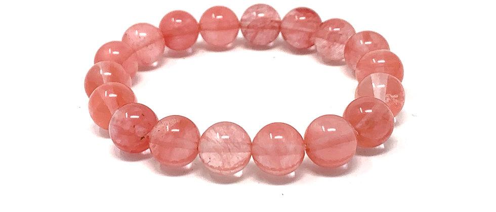 10 mm Round Cherry Quartz Elastic Bracelet  (Price is Per 10 Pieces Bag)