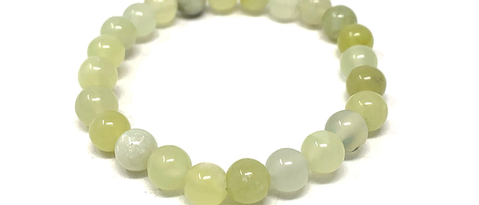 8 MM Lemon Serpentine Round Beads Bracelets (Price Per 10 Pieces Bag)