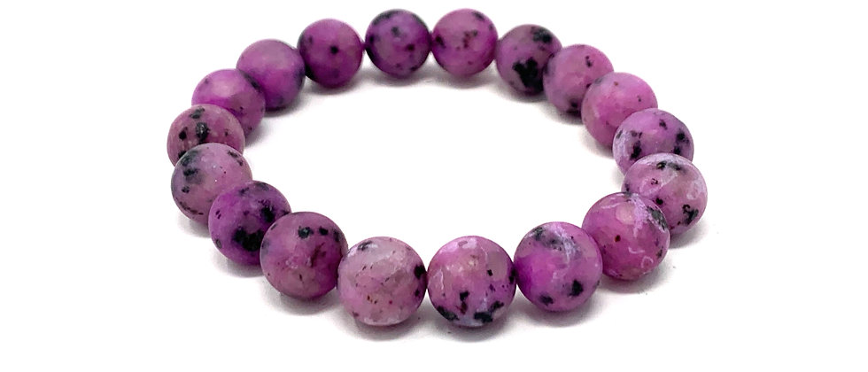 10 mm Round Purple Kiwi QTZ. Matt Elastic Bracelet  (Price is Per 10 Pieces Bag)