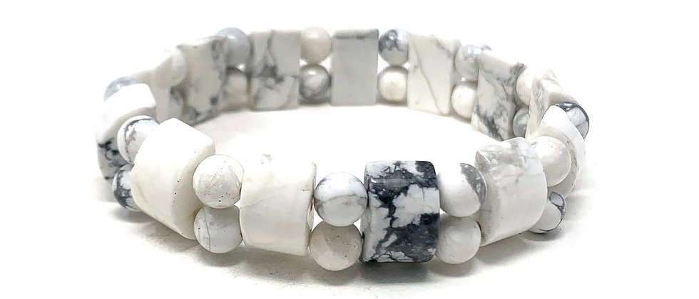 White Howlite Tanker Bracelets (Price Per 10 Pieces Bag)