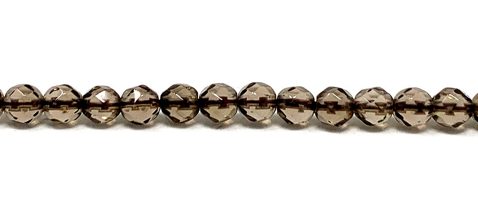 4 mm Faceted Smokey Quartz Beads (Price is per Unit of 5 Strand)
