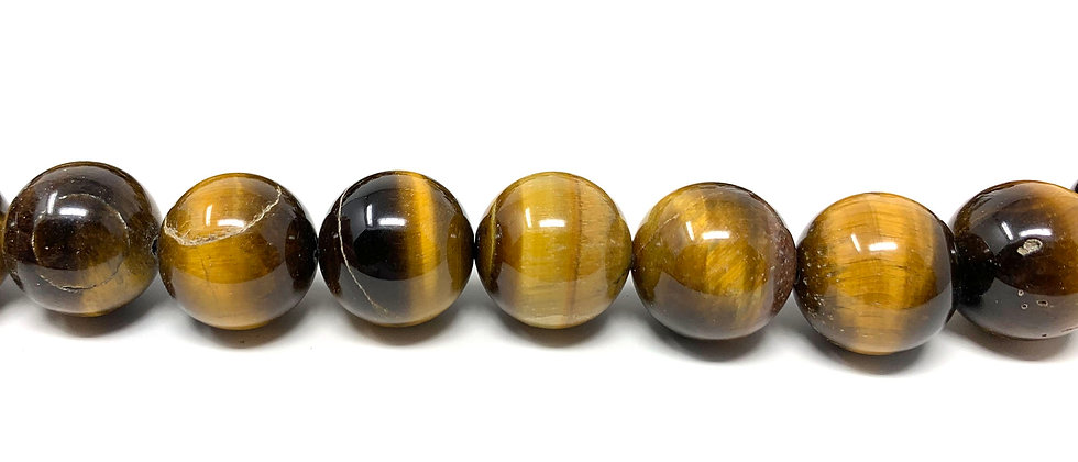 "12 mm Tiger Eye Round Beads15.5""-16"" (Price per Unit of 5 Strands)"