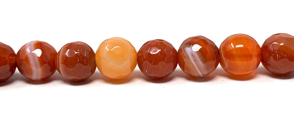 """10 mm Faceted Red Sardonyx Beads 15.5""""-16"""" (Price per Unit of 5 Strands)"""