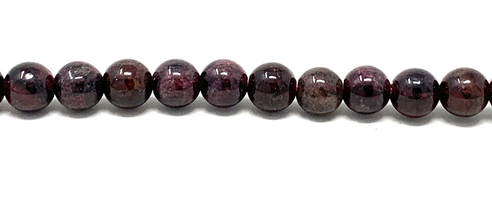 6 mm Plain Round Garnet Beads (Price is per Unit of 5 Strand)