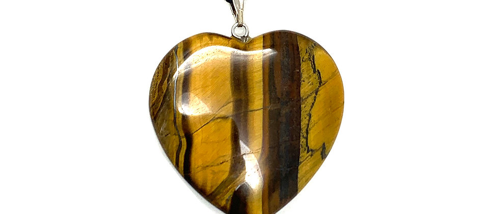 25 mm Tiger Eye Adjustable Cord Heart Pendant (Price per 10 Pieces Bag)