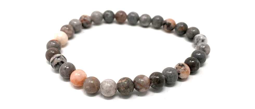 6 mm Round Africa Zebra Jasper Stretch Bracelet  (Price is Per 10 Pieces Bag)