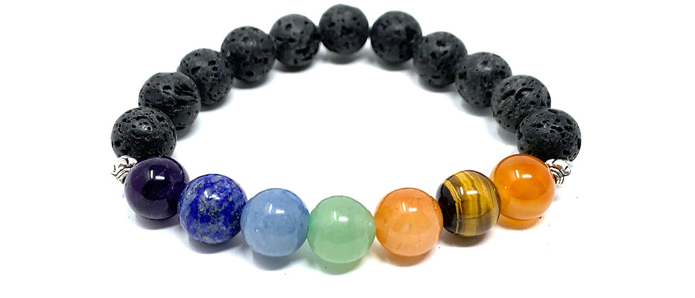 10 mm Lava /10 mm Round Chakra Elastic Bracelets  (Price is Per 10 Pieces Bag)