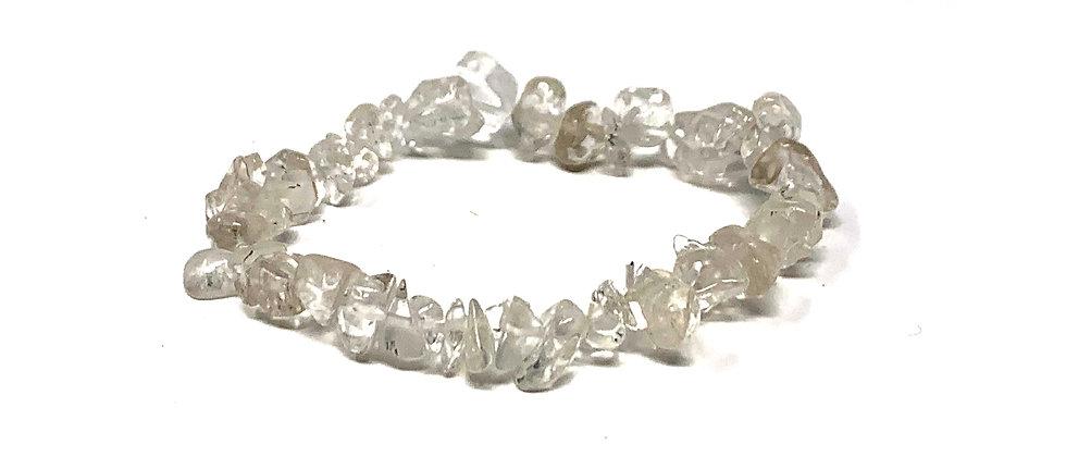 Natural Crystal Single Chips Elastic Bracelet  (Price is Per 10 Pieces Bag)