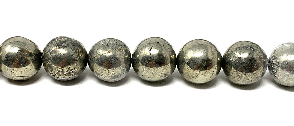 "10 mm Pyrite Smooth Round Beads 15.5""-16"" (Price per Unit of 5 Strands)"