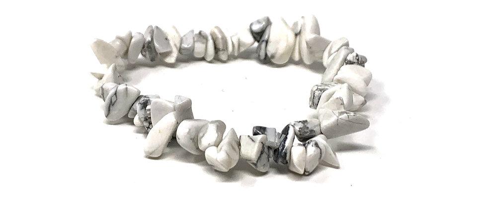 White Howlite Single Chips Elastic Bracelet  (Price is Per 10 Pieces Bag)