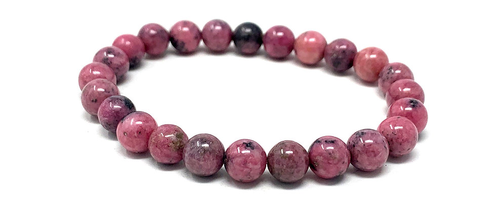 8 MM Rhodonite Round Beads Bracelets (Price Per 10 Pieces Bag)