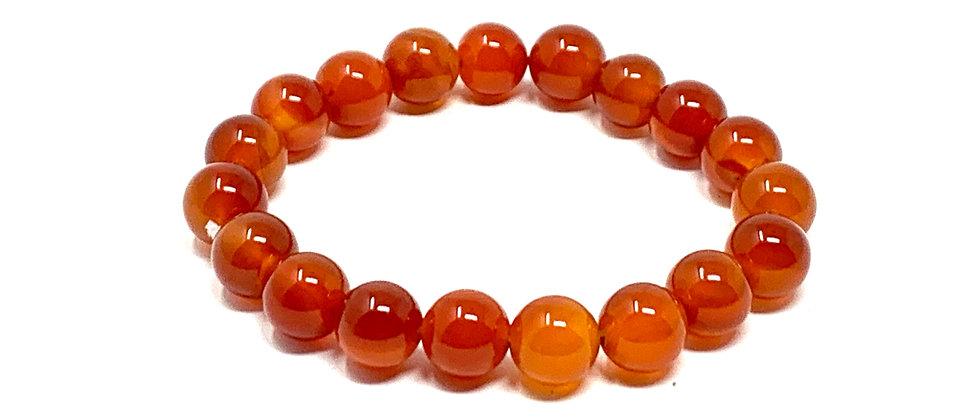 10 mm Carnelian Agate  Elastic Bracelet  (Price is Per 10 Pieces Bag)