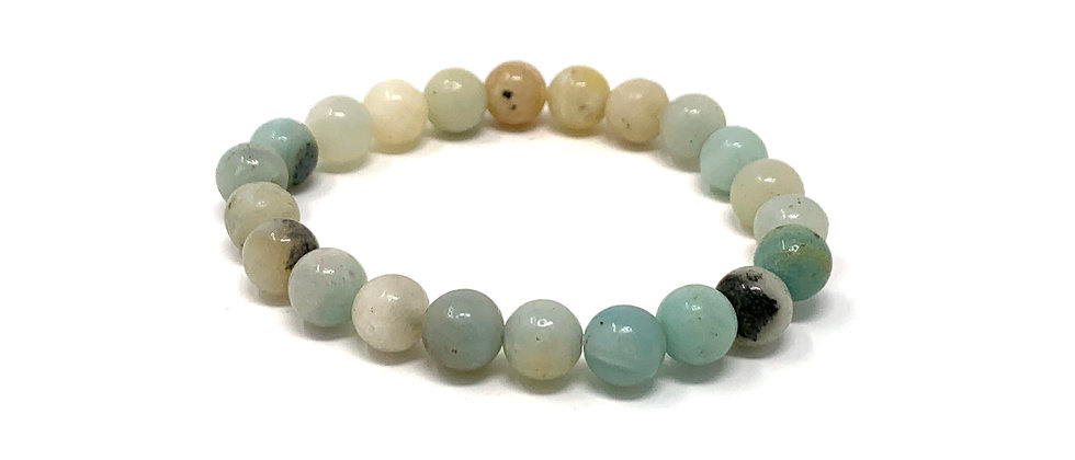 8 mm Round Maulti-Amazonite Strich Bracelet  (Price is Per 10 Pieces Bag)