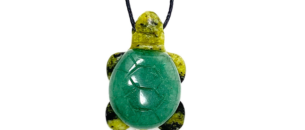 Adj. Cord Green Aventurine Turtle Pendant (Price is per 18 Pieces Tray)