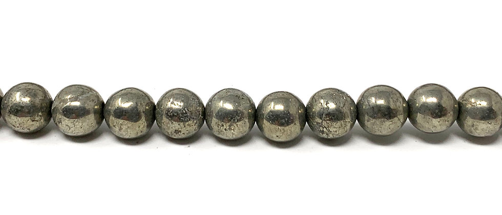 "6 mm Pyrite Smooth Round Beads 15.5""-16"" (Price per Unit of 5 Strands)"