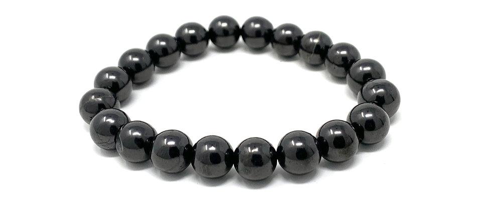 10 mm Round Shungite Elastic Bracelet  (Price is Per 10 Pieces Bag)