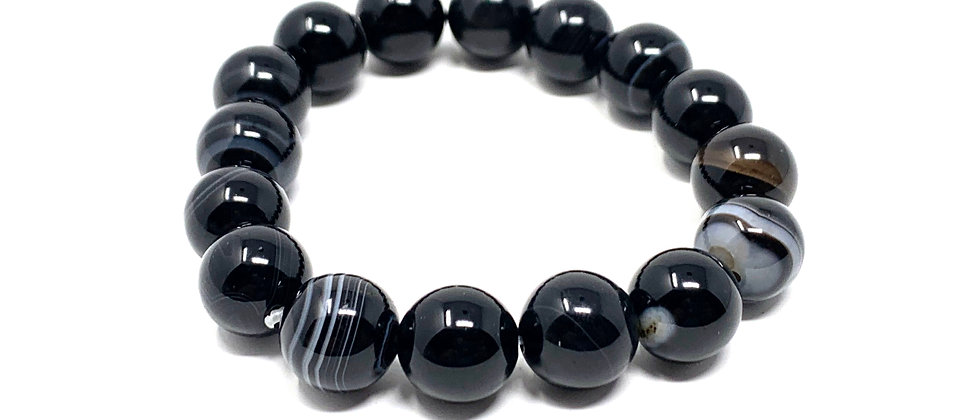 12 mm Round Black/White Sardonyx Agate Bracelet  (Price is Per 10 Pieces Bag)