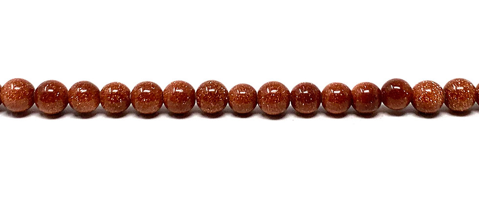 4 mm Plain Round Brown Goldstone Beads (Price is per Unit of 5 Strand)