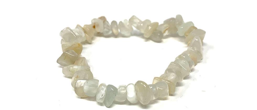 White Moonstone Single Chips Elastic Bracelet  (Price is Per 10 Pieces Bag)