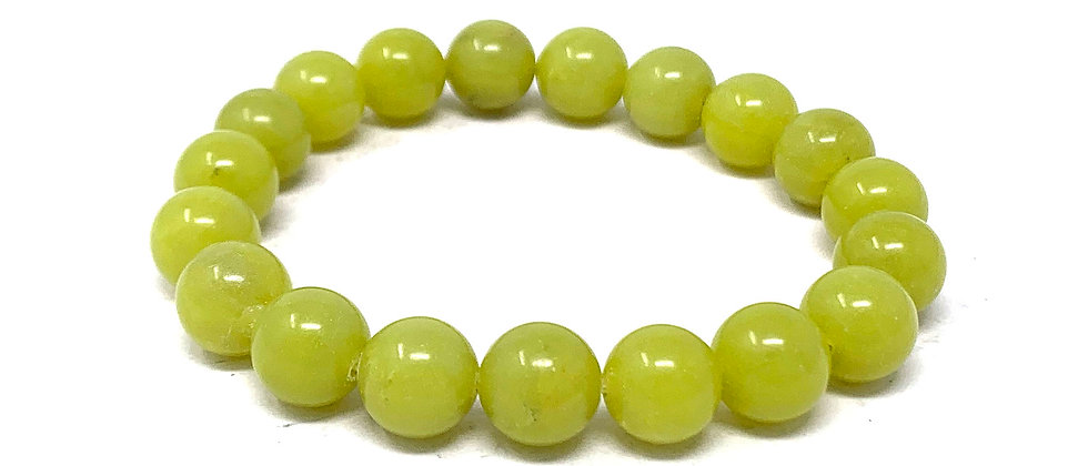 10 MM Lemon Serpentine Round Beads Bracelets (Price Per 10 Pieces Bag)