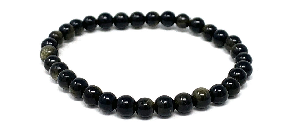6 MM Golden Obsidian Round Beads Bracelets (Price Per 10 Pieces Bag)