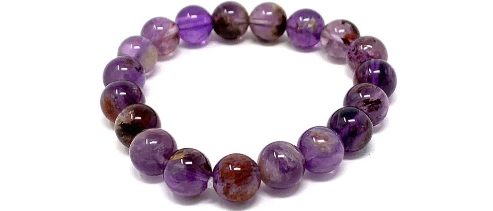 10 mm Round Super 7 Phantom Amethyst Bracelets  (Price is Per 10 Pieces Bag)